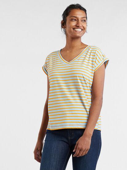 Fluent V Neck Short Sleeve Tee: Model Image