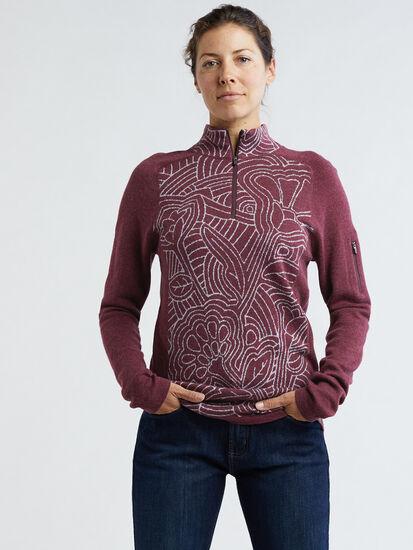 Super Power 1/4 Zip Sweater - Woodcut Botanical