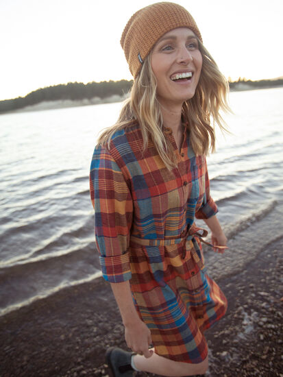 Plaiditude Long Sleeve Shirt Dress: Model Image