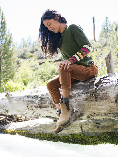 Synergy Crew Neck Sweater - Sleeve Stripe: Model Image