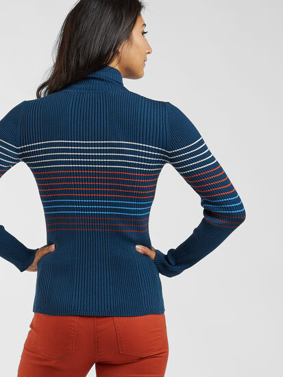 Synergy Ribbed Turtleneck Sweater - Placed Stripe: Image 3