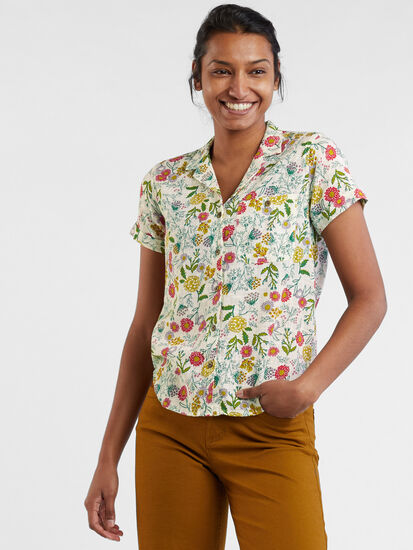 Ziff Short Sleeve Button Down Top: Image 3
