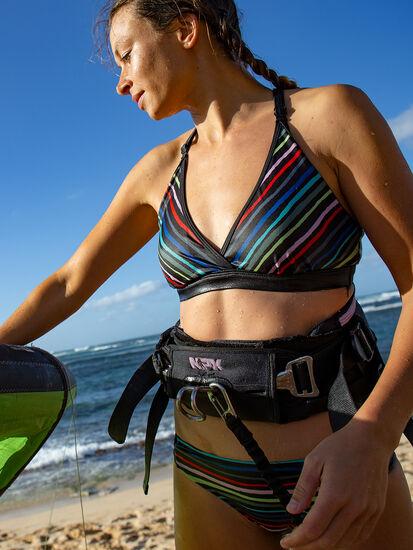 Black Tide Bikini Top - Wavy Stripe: Model Image