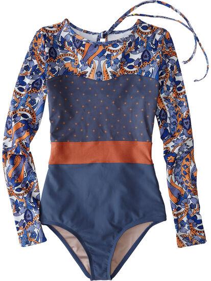 Barrel Long Sleeve One Piece Swimsuit - Sari: Image 1