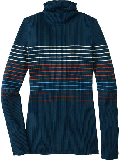 Synergy Ribbed Turtleneck Sweater - Placed Stripe: Image 1