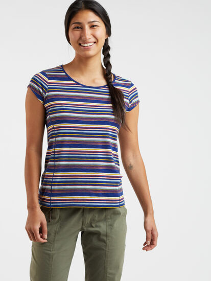 Henerala Short Sleeve Top - Fall Stripes: Model Image