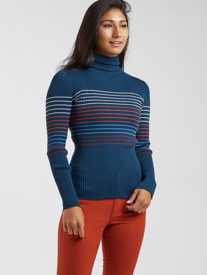 Synergy Ribbed Turtleneck Sweater - Placed Stripe
