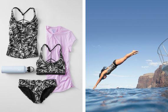 Black Springtime Print Swim