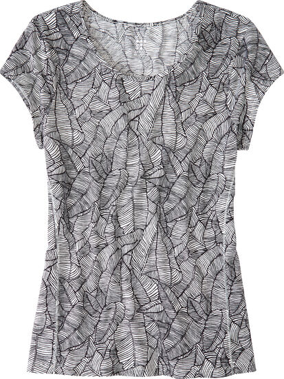 Henerala Short Sleeve Top - Linear Leaf: Image 1