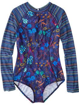 Zenith Long Sleeve One Piece Swimsuit - Botanica Stripe