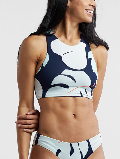 Encinitas High Neck Bikini Top - Capitola/Navy: Image 2