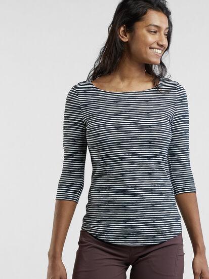 Mettle 3/4 Sleeve Top - Painted Stripe: Image 3