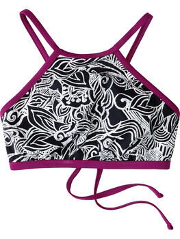 Plunge High Neck Bikini Top - Flower Swirl