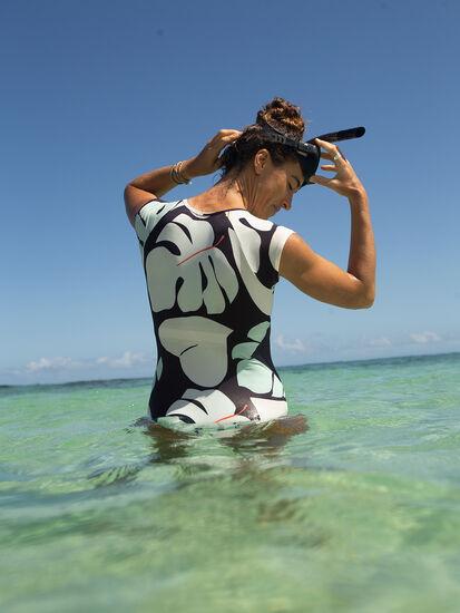 Barrel One Piece Zip Front Swimsuit - Capitola: Model Image